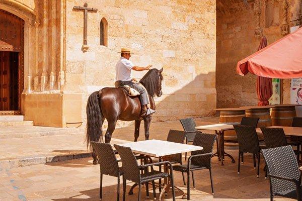 Horse rider in Mallorca village